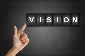 hand pushing business vision on Flip Board