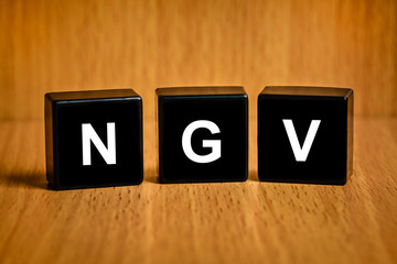 NGV or natural gas vehicle word on black block