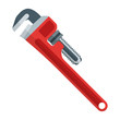 vector outline flat style red pipe adjustable metal wrench icon