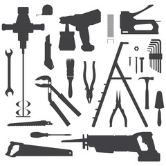vector various house repair tools dark grey silhouette set