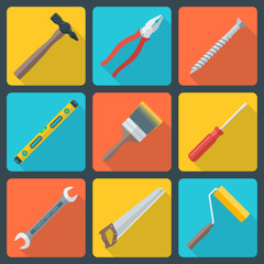 vector color flat house repair instruments equipment icons