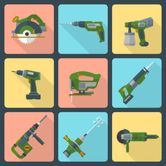 vector house repair electric devices flat icons