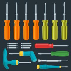 vector various screwdriver flat style set