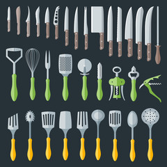 flat color various kitchenware cutlery equipment set