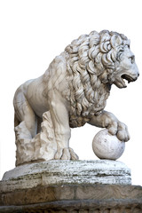 Lion statue in Florence.  Isolated on white.