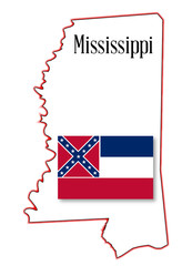 Mississippi State Map and Flag