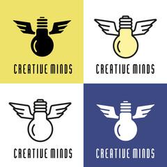 Light Bulb illustration. Conceptual creative logo.