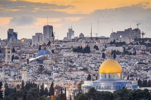 Deurstickers Midden Oosten Jerusalem, Israel City Skyline With Dome of the Rock