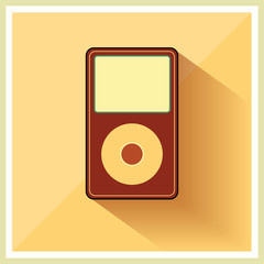 Music Media MP3 Player on the Retro Vintage Background