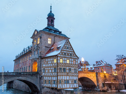 Fotobehang Venice Bamberg Winter city