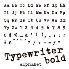Typewriter bold alphabet.