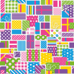 colorful birthday presents collection pattern