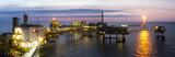 An offshore platform at sunset