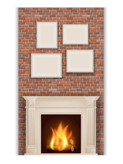 classic fireplace on brick wall background