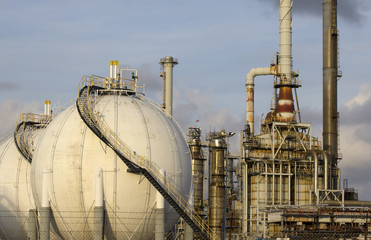 Oil-refinery plant with Liquefied Natural Gas (LNG) tanks