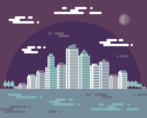 Night cityscape vector concept illustration in flat design style