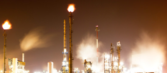 Oil-refinery plant at night