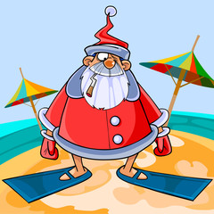 Funny cartoon Santa Claus wearing flippers on the beach