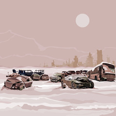 Dump wrecked cars nuclear winter postapokalipsisa