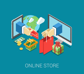 Flat 3d isometric online store e-commerce web infographic
