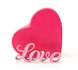 Pink box in heart shape with word love