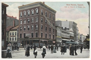 New Haven, Connct.; Church & Chapel Sts. 1908 (hist. Postkarte)