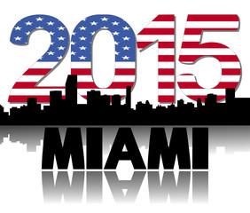 Miami skyline 2015 flag text illustration
