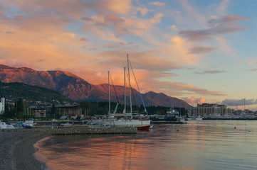 Sunset afterglow. Tivat city, Montenegro