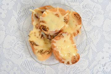 top view garlic cheese bread