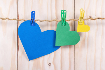 colorful hearts on the clothesline