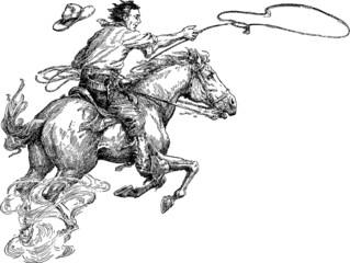 Vintage picture cowboy lasso