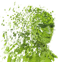 Green human head into pieces