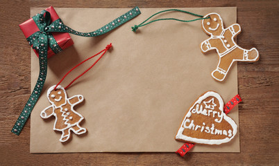Christmas background of old paper with sweet homemade cookies an