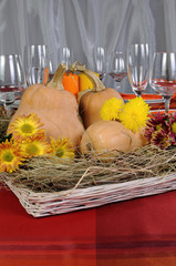 Autumn theme in decoration dining table