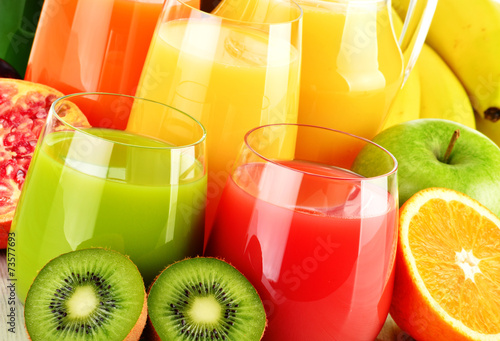 Glasses of assorted fruit juice. Detox diet - 73577693