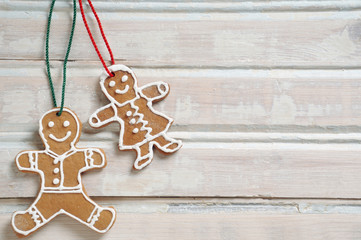 sweet homemade cookies for Christmas on white old wooden backgro