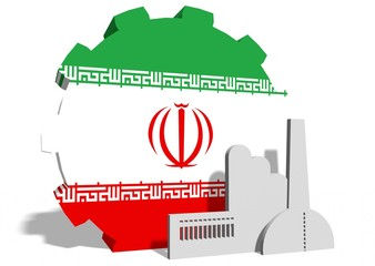iran flag on gear and factory icon