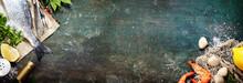 """Постер, картина, фотообои """"Food background with Seafood and Wine"""""""