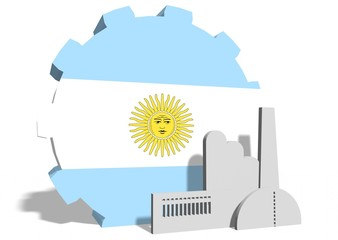 argentina flag on gear and factory icon