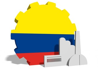colombia flag on gear and factory icon
