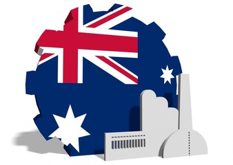 australia flag on gear and factory icon