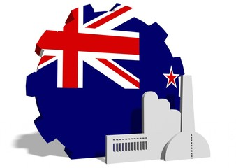 new zealand flag on gear and factory icon