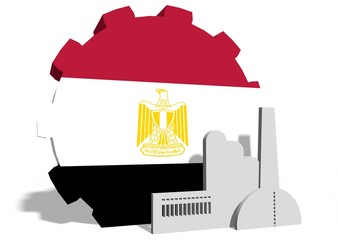 egypt flag on gear and factory icon