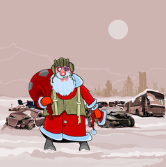 Santa Claus at the dump wrecked cars winter postapokalipsisa