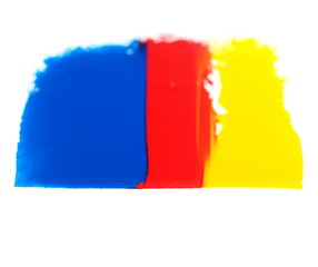 red, yellow, blue grunge brush strokes oil paint isolated