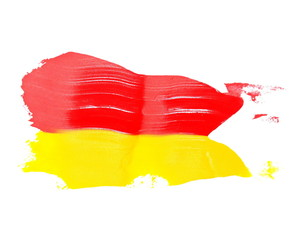 red, yellow grunge brush strokes oil paint isolated on white