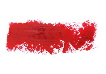 red grunge brush strokes oil paint isolated on white