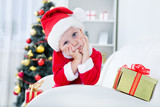 little boy in santa suit