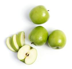 Зелёные яблоки на белом фоне, Green apples on a white background