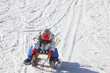 Child having fun on the snow